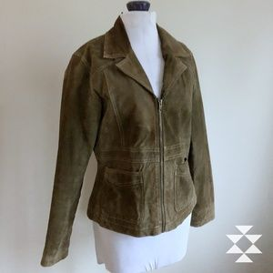 Loden Green Leather Women's Fitted Jacket M